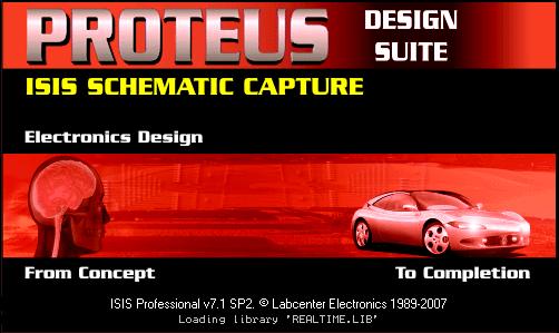 """صورة برنامج البروتوس """"proteus"""" لمحاكات الدوائر الإلكترونية"""